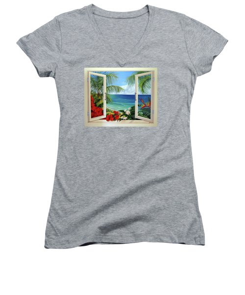 Tropical Window Women's V-Neck (Athletic Fit)