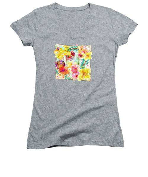 Tropicana Abstract By Kaye Menner Women's V-Neck (Athletic Fit)