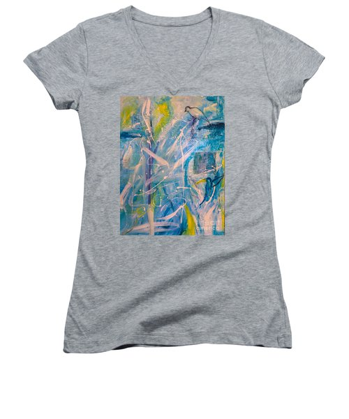 Tropicana Bird 02 Women's V-Neck T-Shirt (Junior Cut) by Gallery Messina
