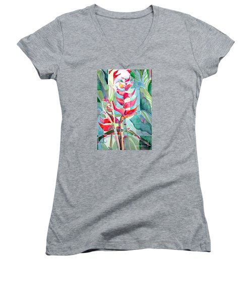 Tropicana Red Women's V-Neck T-Shirt (Junior Cut) by Mindy Newman