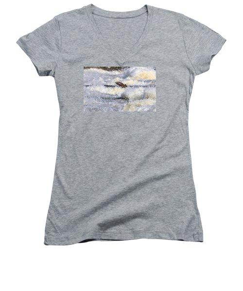 Women's V-Neck T-Shirt (Junior Cut) featuring the digital art Trout by Robert Pearson