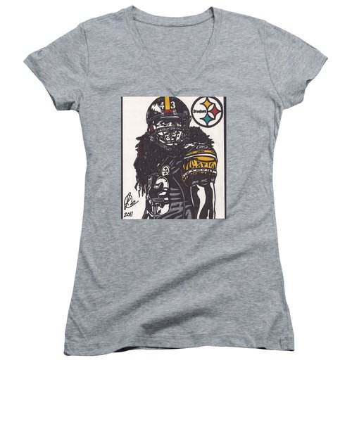 Women's V-Neck T-Shirt (Junior Cut) featuring the drawing Troy Polomalu 1 by Jeremiah Colley