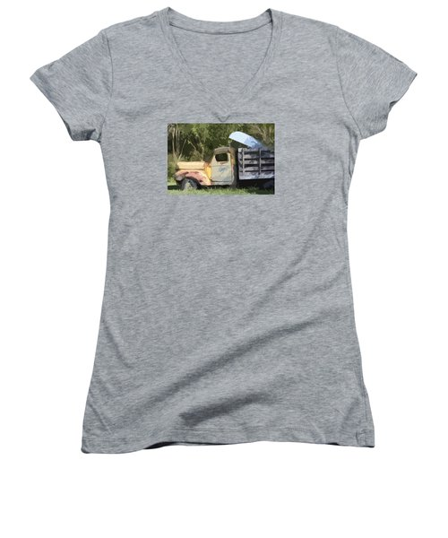 Truck And Canoe Women's V-Neck T-Shirt (Junior Cut) by Donna G Smith