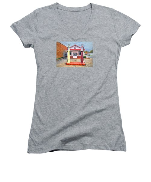 Women's V-Neck T-Shirt (Junior Cut) featuring the photograph Trucking Museum by Marion Johnson