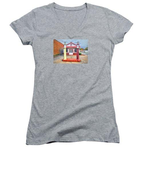 Trucking Museum Women's V-Neck T-Shirt (Junior Cut) by Marion Johnson