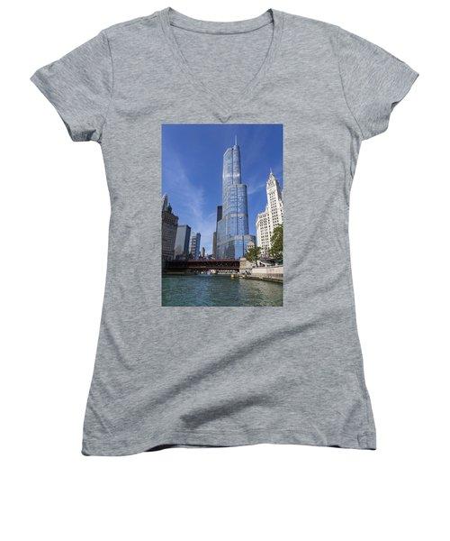 Trump Tower Chicago Women's V-Neck T-Shirt (Junior Cut) by Adam Romanowicz