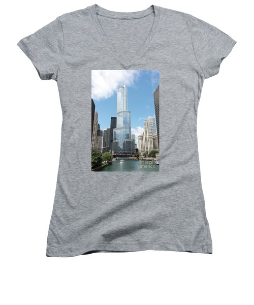 Trump Tower Overlooking The Chicago River Women's V-Neck