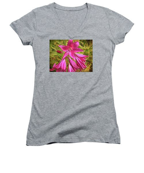 Women's V-Neck T-Shirt featuring the photograph Trumpet Flowers by Lewis Mann
