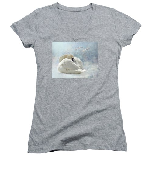 Trumpeter Textures #1 - Swan Feather Women's V-Neck