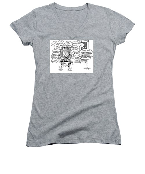 Women's V-Neck T-Shirt (Junior Cut) featuring the drawing Trumptempertantrum by Bob George