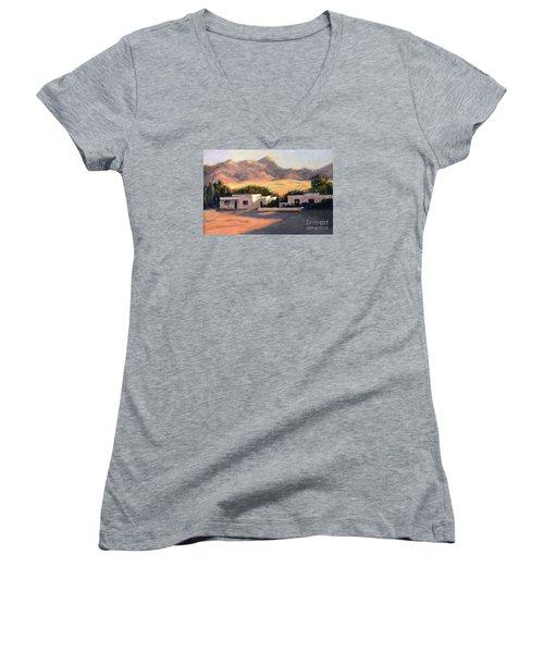 Women's V-Neck T-Shirt (Junior Cut) featuring the painting Tucson,az by Marcia Dutton