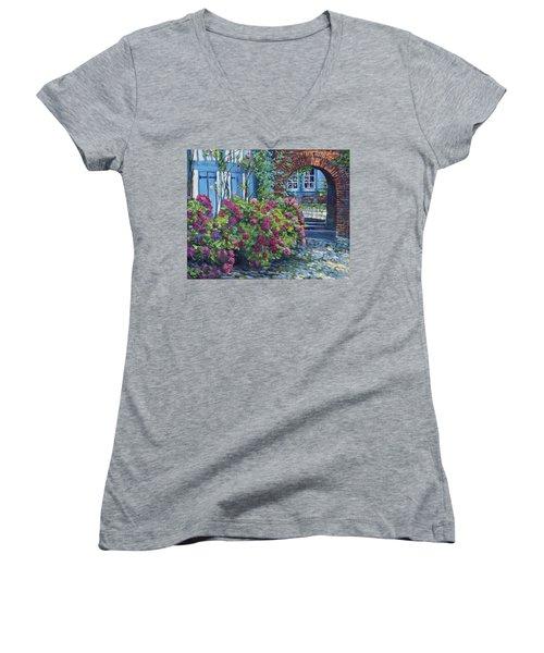 Tudor Hydrangea Garden Women's V-Neck