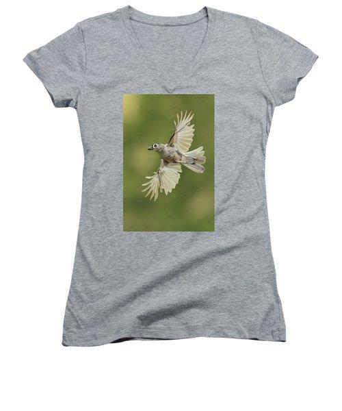 Tufted Titmouse In Flight Women's V-Neck T-Shirt (Junior Cut) by Alan Lenk