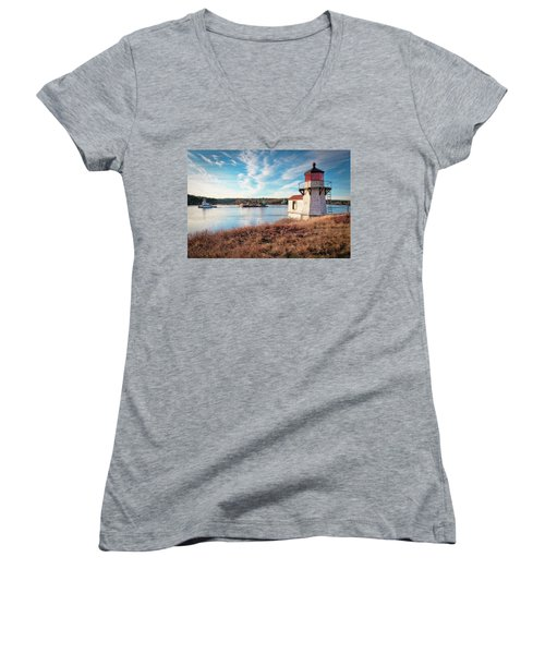 Tugboat, Squirrel Point Lighthouse Women's V-Neck (Athletic Fit)