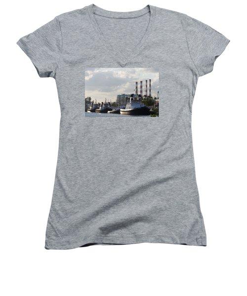 Tugs Women's V-Neck T-Shirt (Junior Cut) by Ed Gleichman