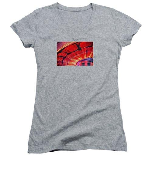 Women's V-Neck T-Shirt (Junior Cut) featuring the photograph Tulare Fairgrounds by John Swartz