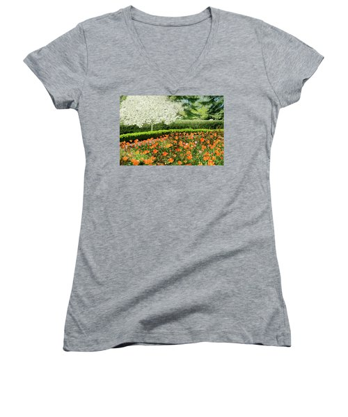 Women's V-Neck T-Shirt (Junior Cut) featuring the photograph Tulip Cafe by Diana Angstadt