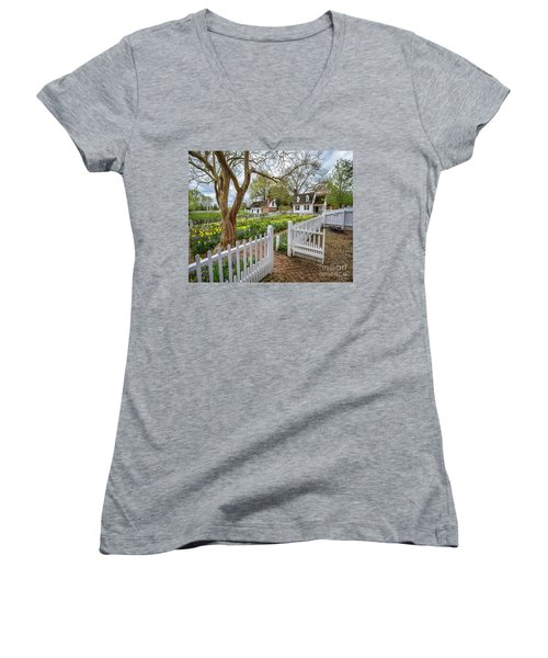 Tulip Garden Colonial Williamsburg  Women's V-Neck (Athletic Fit)