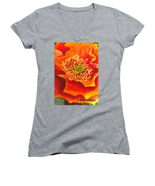 Women's V-Neck T-Shirt (Junior Cut) featuring the painting Tulip Prickly Pear by Eric Samuelson