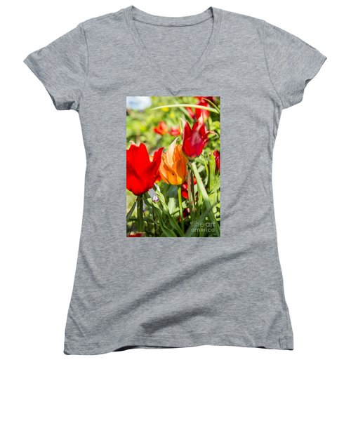Tulip - The Orange One 02 Women's V-Neck T-Shirt (Junior Cut) by Arik Baltinester
