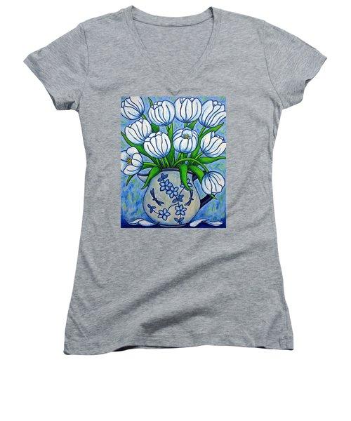 Tulip Tranquility Women's V-Neck T-Shirt
