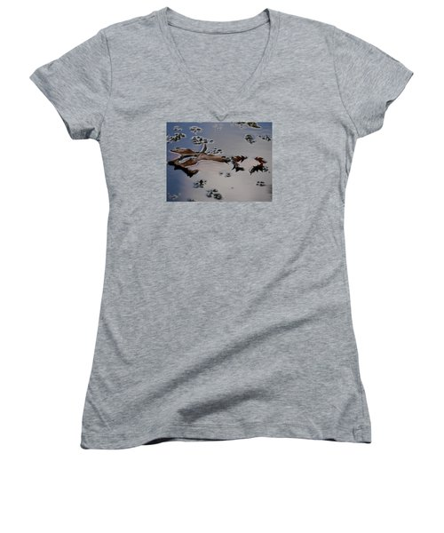 Tulip Tree Leaves Women's V-Neck T-Shirt (Junior Cut) by Jane Ford