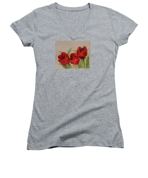 Tulip Trio Women's V-Neck T-Shirt (Junior Cut) by Phyllis Howard