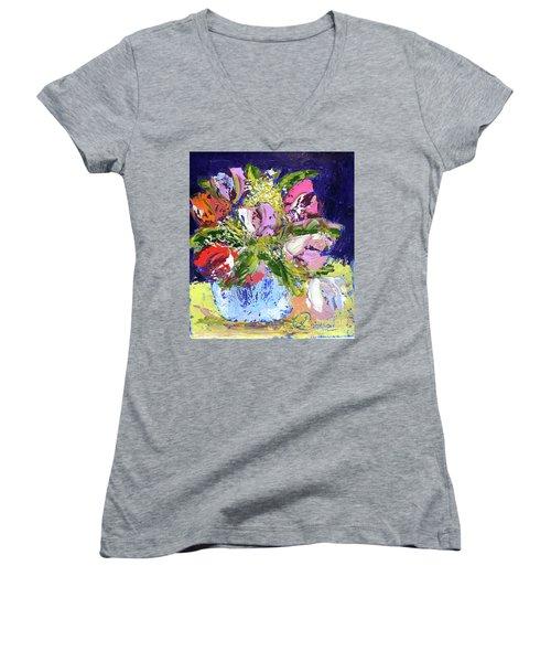 Tulips And Gypsophila Women's V-Neck T-Shirt (Junior Cut) by Lynda Cookson