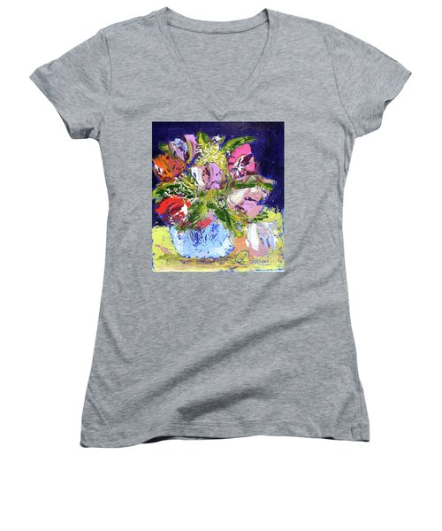 Tulips And Gypsophila Women's V-Neck (Athletic Fit)