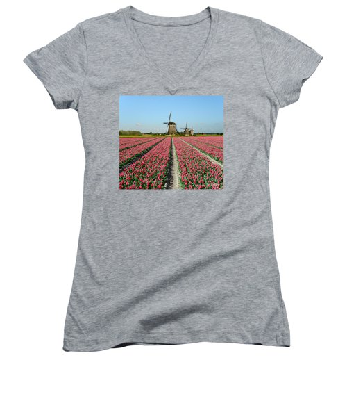 Tulips And Windmills In Holland Women's V-Neck T-Shirt (Junior Cut) by IPics Photography