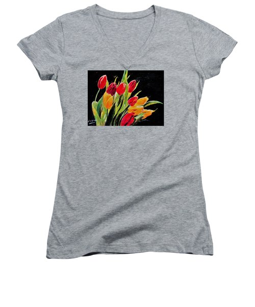 Tulips Colors Women's V-Neck T-Shirt (Junior Cut) by Khalid Saeed