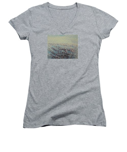 Women's V-Neck T-Shirt (Junior Cut) featuring the painting Tulips Dance Abstract 3 by Jane See