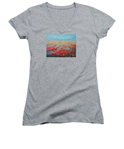Women's V-Neck T-Shirt (Junior Cut) featuring the painting Tulips Dance Abstract 4 by Jane See
