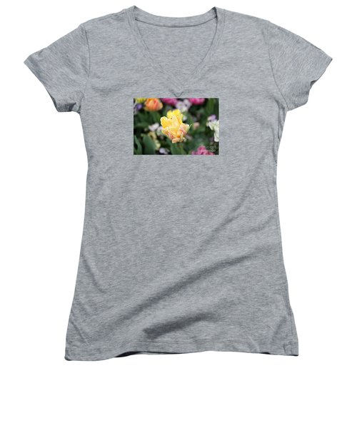 Women's V-Neck T-Shirt (Junior Cut) featuring the photograph Tulips by Diana Mary Sharpton