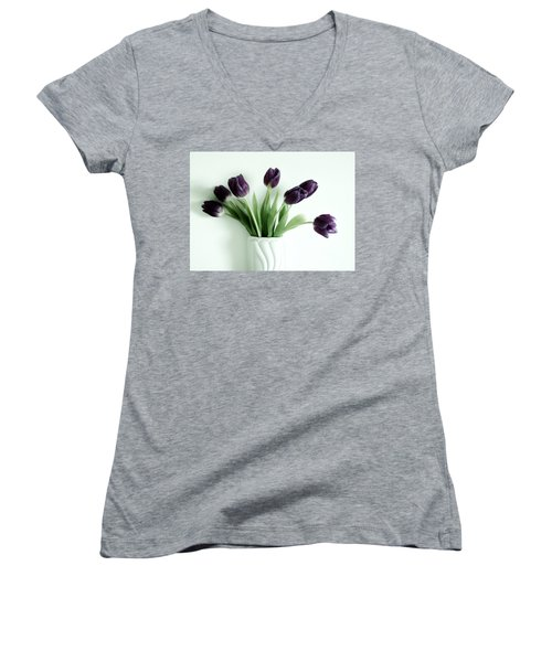 Tulips For You Women's V-Neck T-Shirt (Junior Cut) by Marsha Heiken
