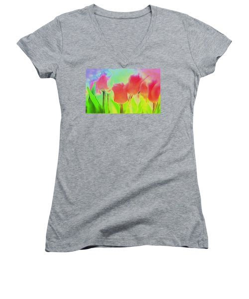 Tulips In Abstract 2 Women's V-Neck T-Shirt (Junior Cut) by Cathy Anderson