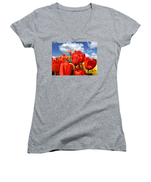 Tulips In The Sky Women's V-Neck (Athletic Fit)