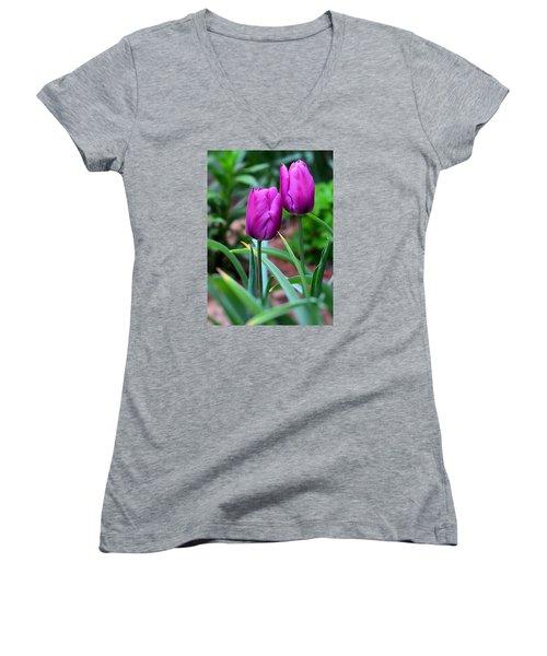 Tulips Women's V-Neck T-Shirt (Junior Cut) by Kathy Eickenberg