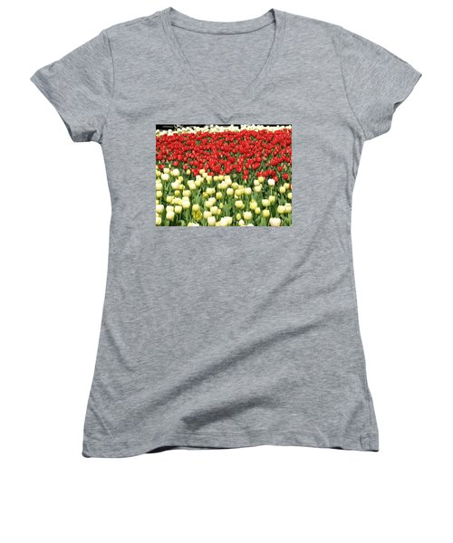 Women's V-Neck T-Shirt (Junior Cut) featuring the photograph Tulips Of Spring by Christopher Woods