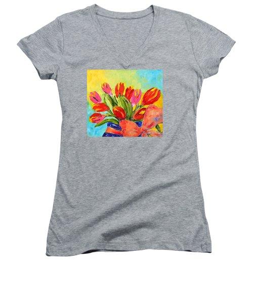 Tulips Tied Up Women's V-Neck T-Shirt (Junior Cut) by Lynda Cookson