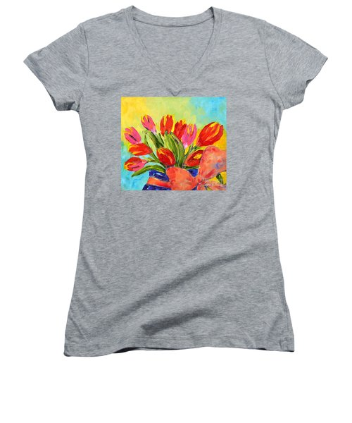 Tulips Tied Up Women's V-Neck T-Shirt