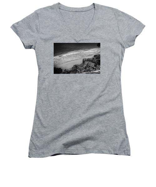 Tulum Beach Women's V-Neck T-Shirt (Junior Cut) by Ana Mireles