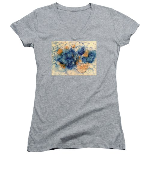Women's V-Neck T-Shirt featuring the painting Tundra by Denise Tomasura