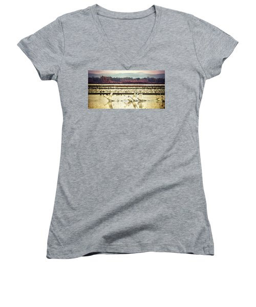 Tundra Swans Lift Off Women's V-Neck (Athletic Fit)