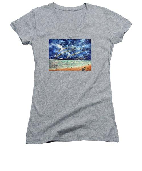 Turbulence At The Nj Shore Women's V-Neck T-Shirt