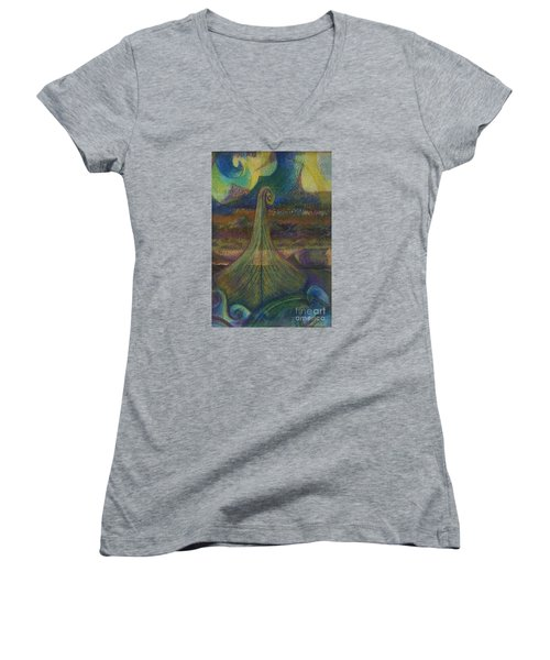 Turbulence Women's V-Neck T-Shirt (Junior Cut) by Cynthia Lagoudakis