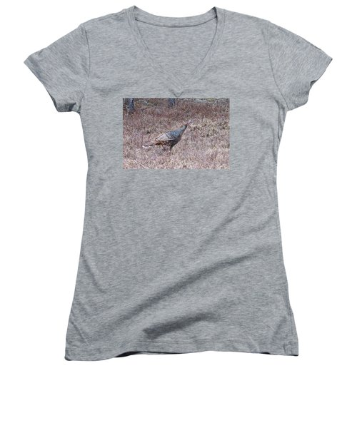 Turkey 1155 Women's V-Neck T-Shirt (Junior Cut) by Michael Peychich