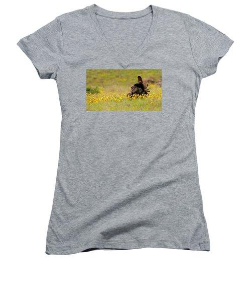 Turkey In Wildflowers Women's V-Neck T-Shirt