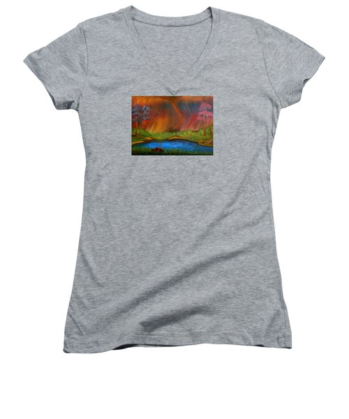 Women's V-Neck T-Shirt (Junior Cut) featuring the painting Turmoil by Sheri Keith
