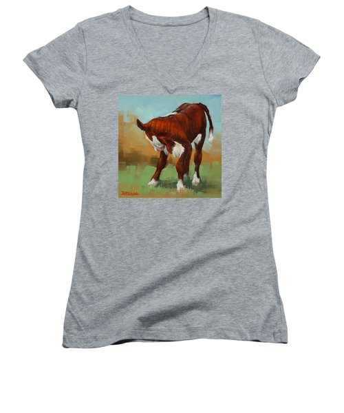 Women's V-Neck T-Shirt (Junior Cut) featuring the painting Turning Calf by Margaret Stockdale